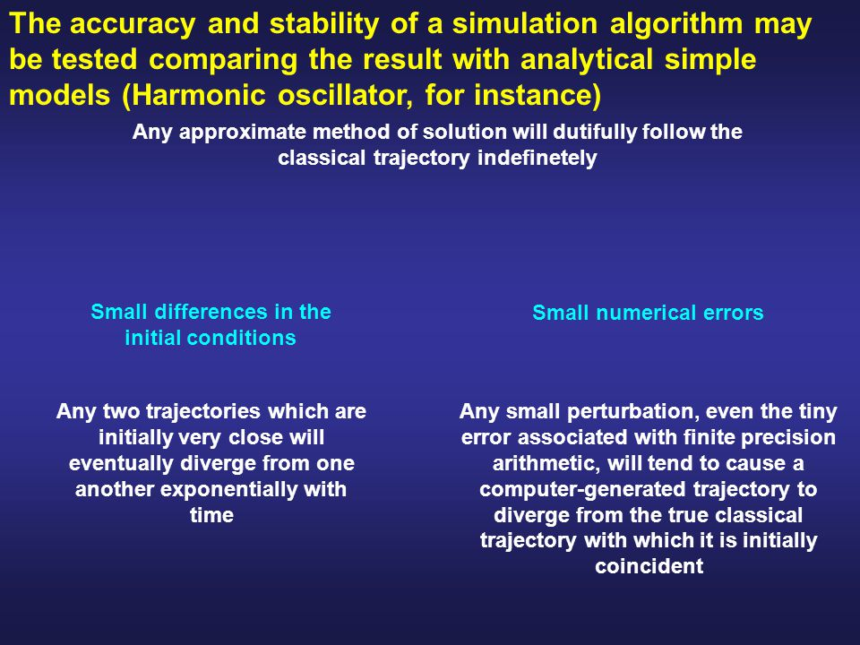 Small differences in the initial conditions Small numerical errors