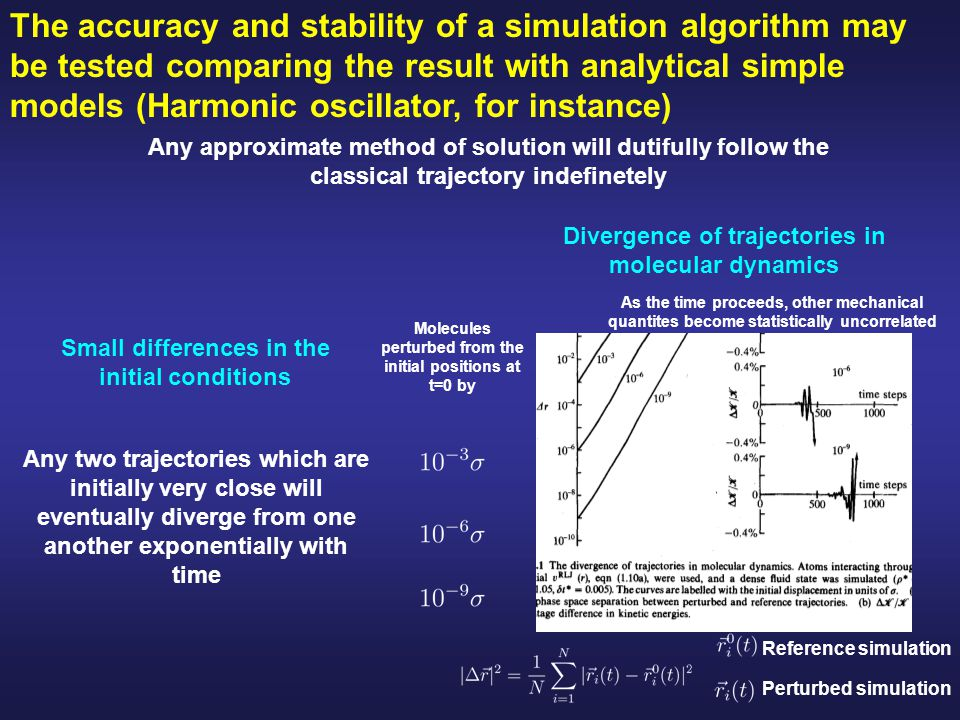 The accuracy and stability of a simulation algorithm may be tested comparing the result with analytical simple models (Harmonic oscillator, for instance)