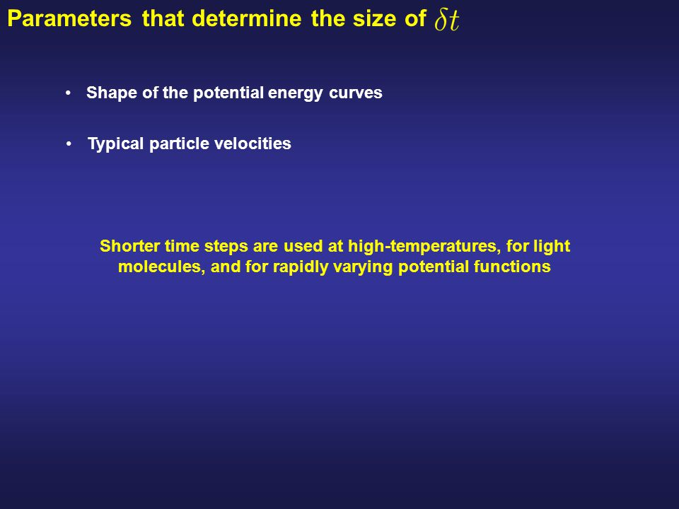 Parameters that determine the size of