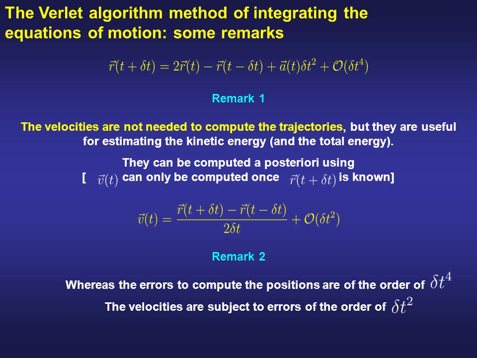 The Verlet algorithm method of integrating the equations of motion: some remarks