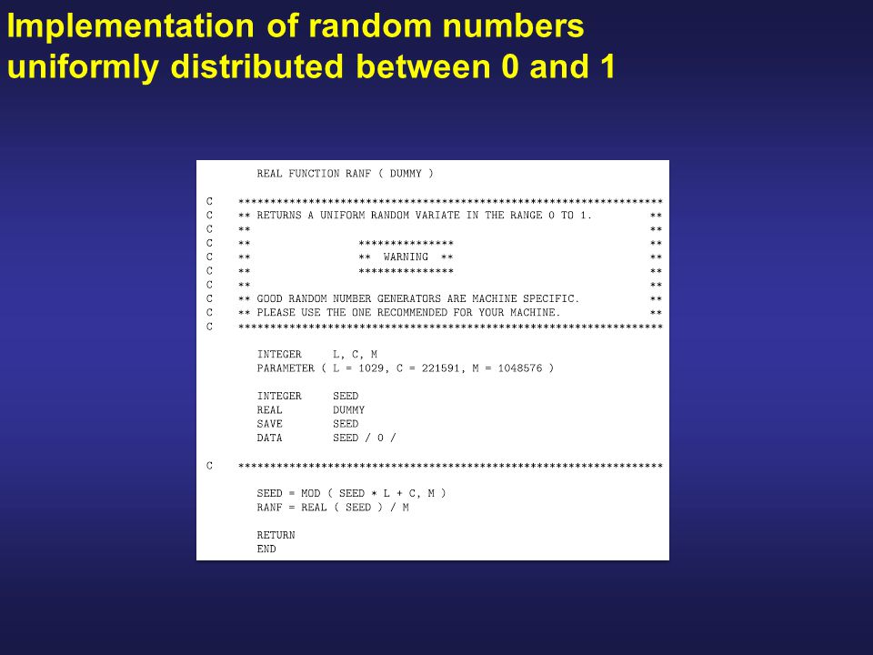 Implementation of random numbers uniformly distributed between 0 and 1