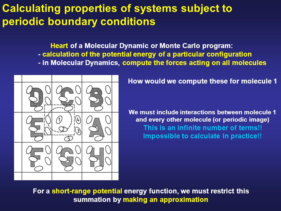 Heart of a Molecular Dynamic or Monte Carlo program: