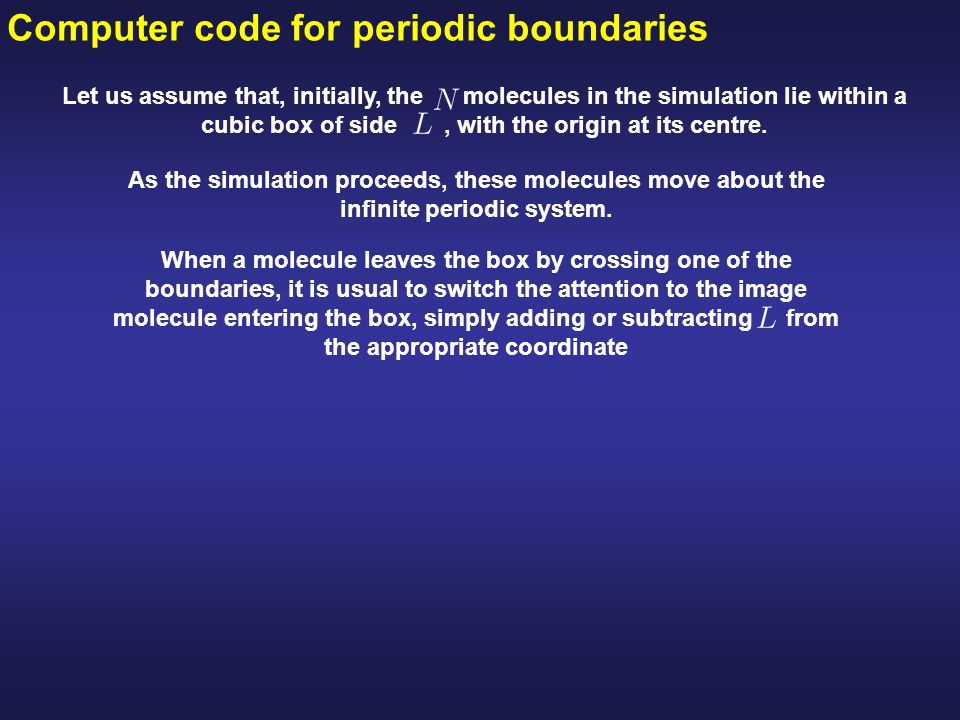 Computer code for periodic boundaries