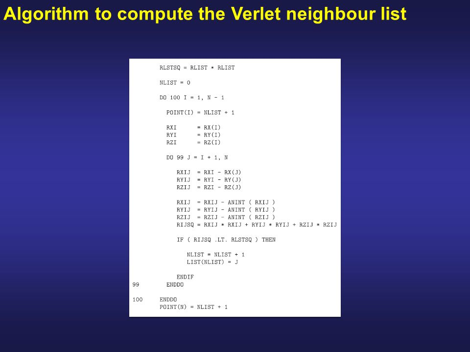 Algorithm to compute the Verlet neighbour list