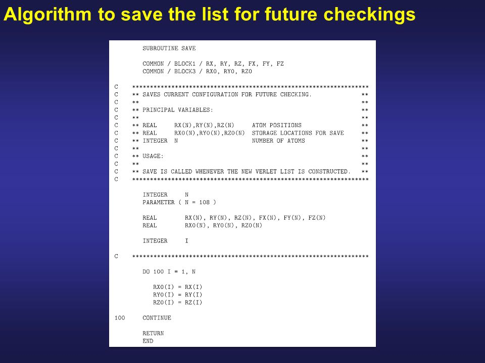 Algorithm to save the list for future checkings