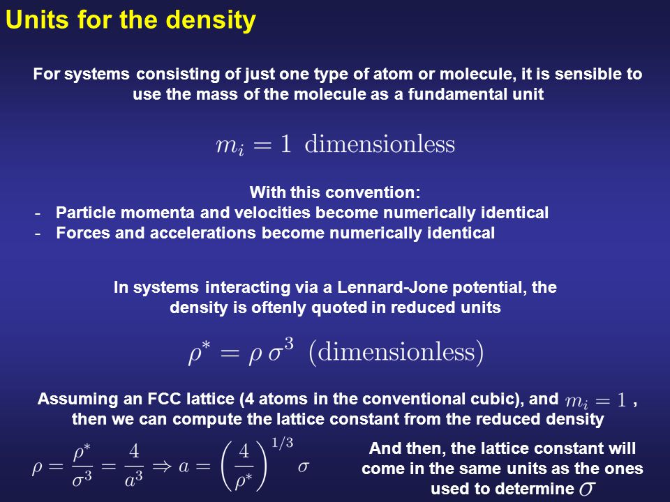 Units for the density