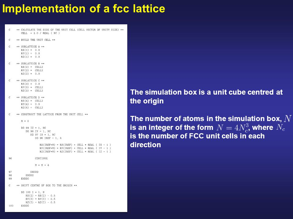 Implementation of a fcc lattice