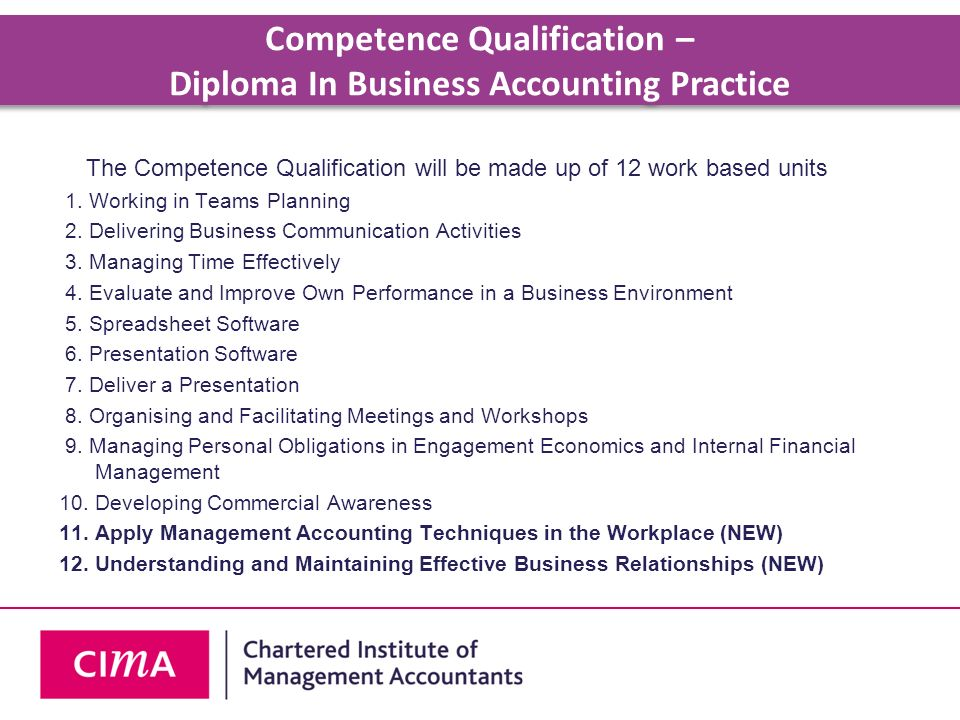 Competence Qualification – Diploma In Business Accounting Practice
