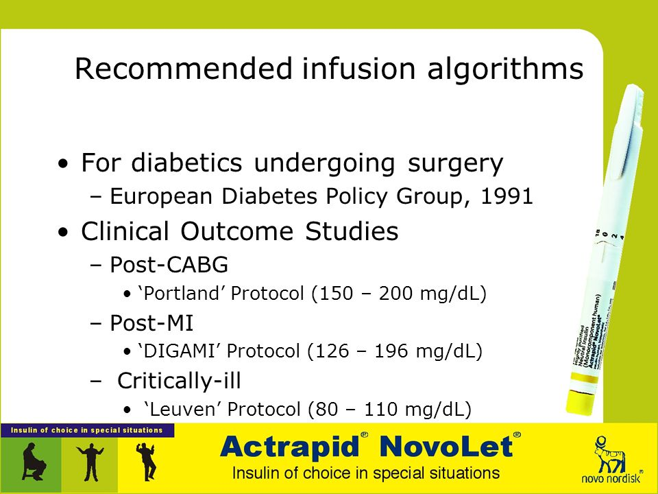 Recommended infusion algorithms