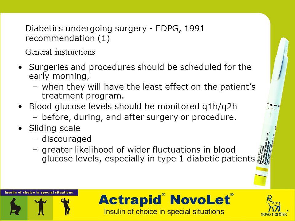 Diabetics undergoing surgery - EDPG, 1991 recommendation (1)