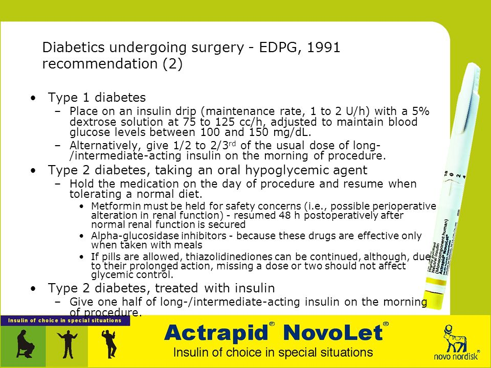 Diabetics undergoing surgery - EDPG, 1991 recommendation (2)