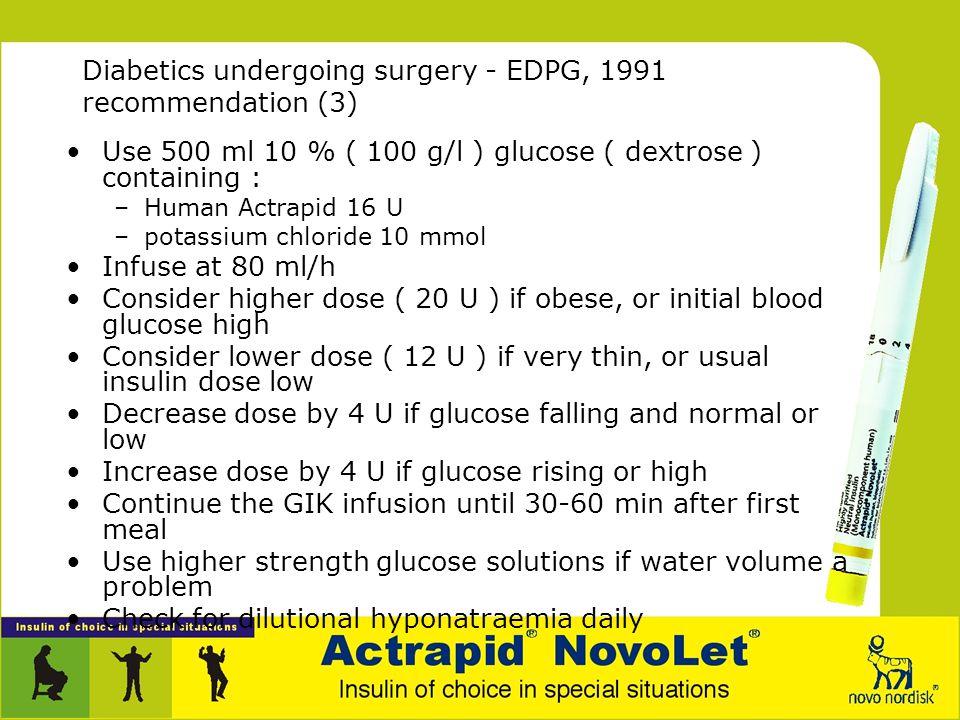 Diabetics undergoing surgery - EDPG, 1991 recommendation (3)