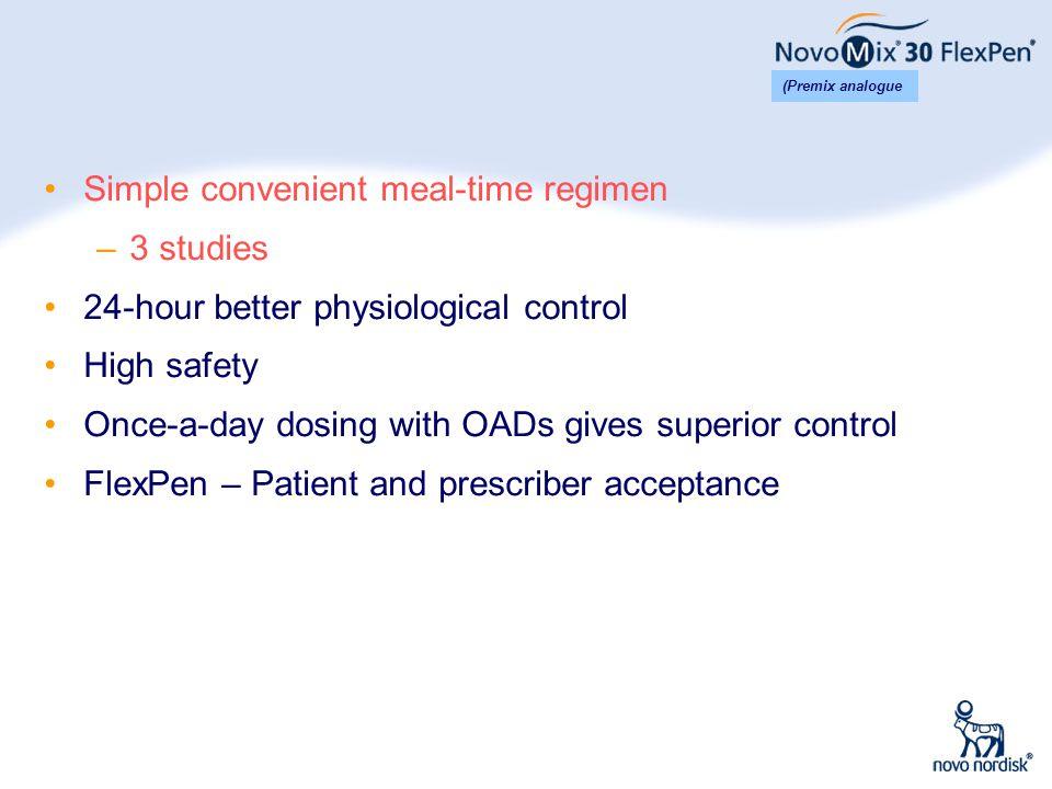 Simple convenient meal-time regimen 3 studies