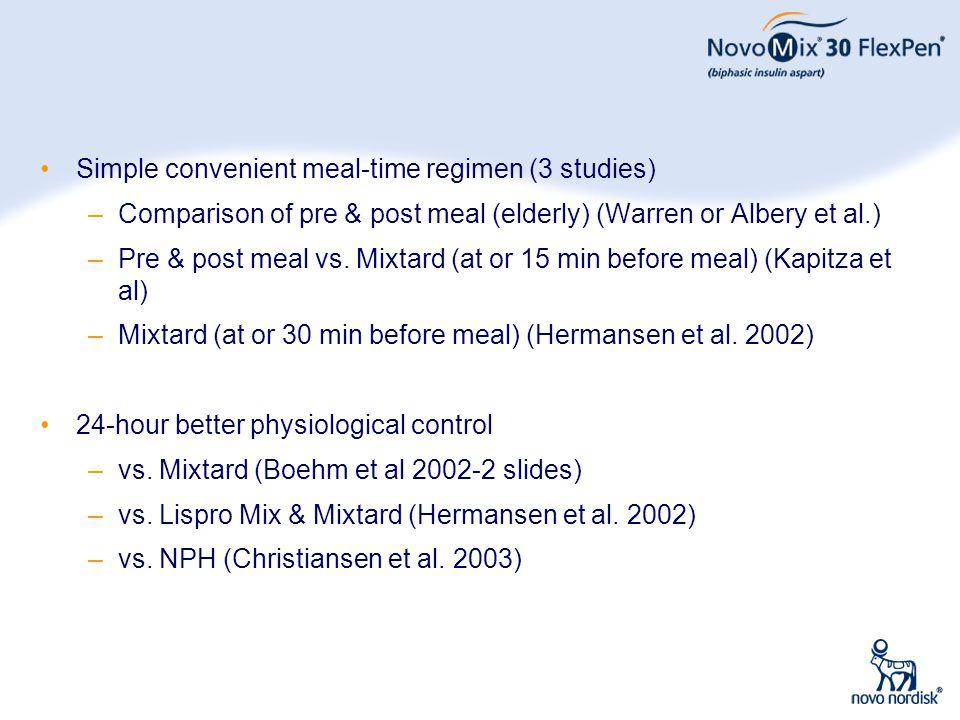 Simple convenient meal-time regimen (3 studies)