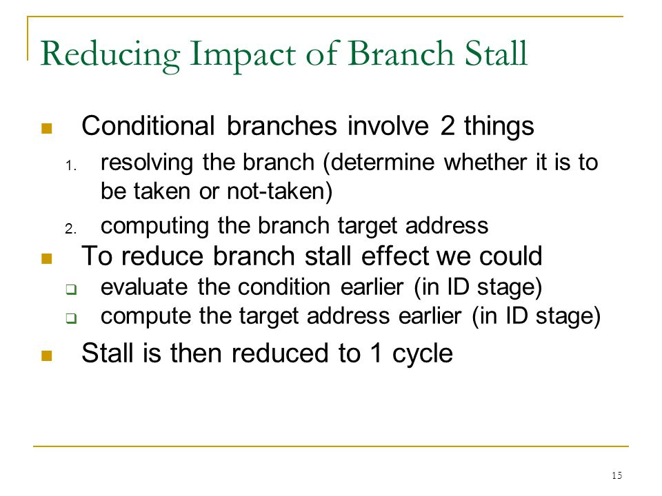 Reducing Impact of Branch Stall