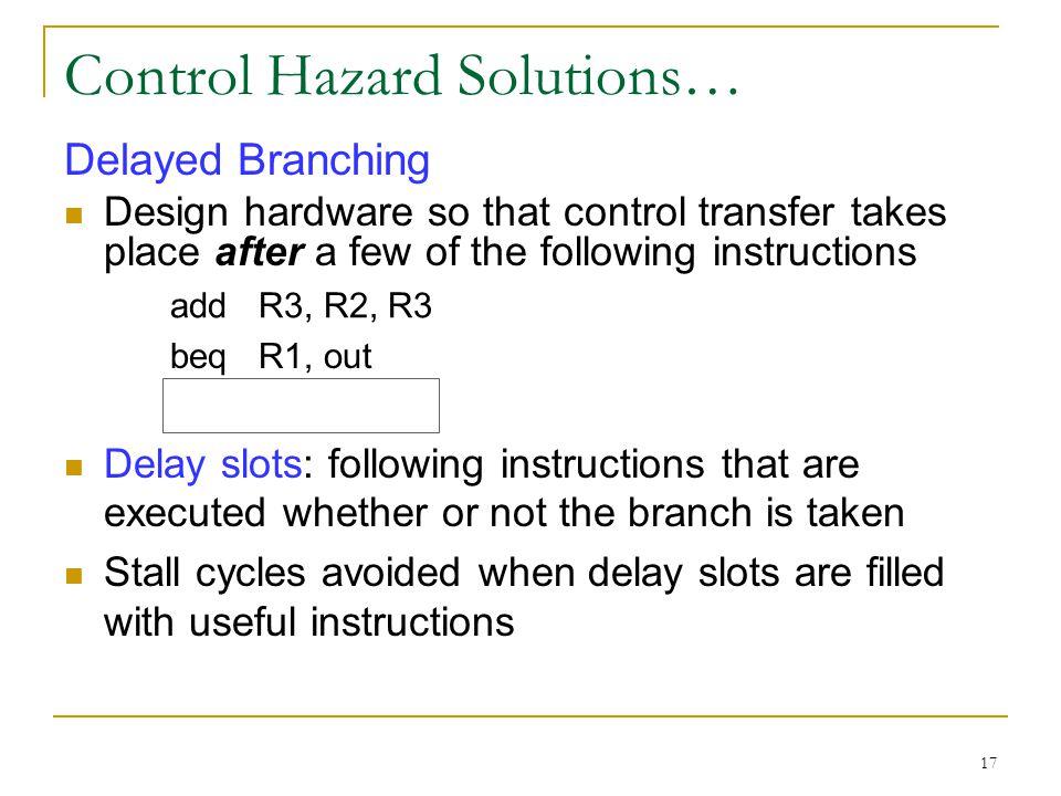 Control Hazard Solutions…