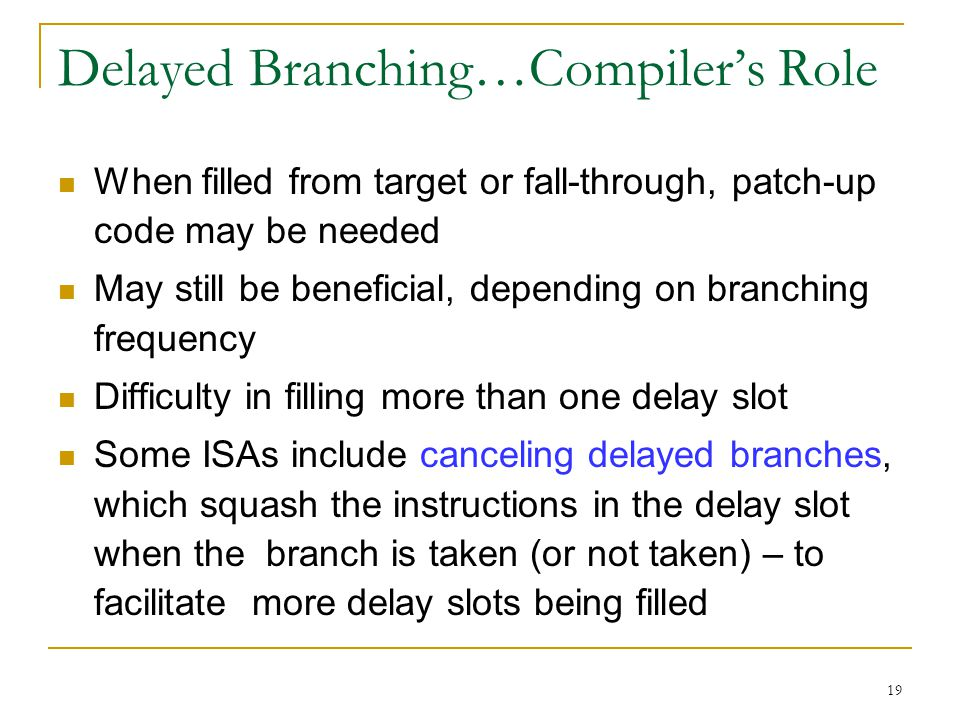 Delayed Branching…Compiler's Role