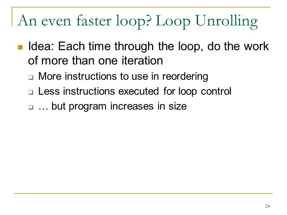 An even faster loop Loop Unrolling