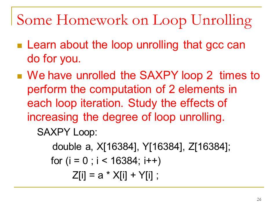 Some Homework on Loop Unrolling