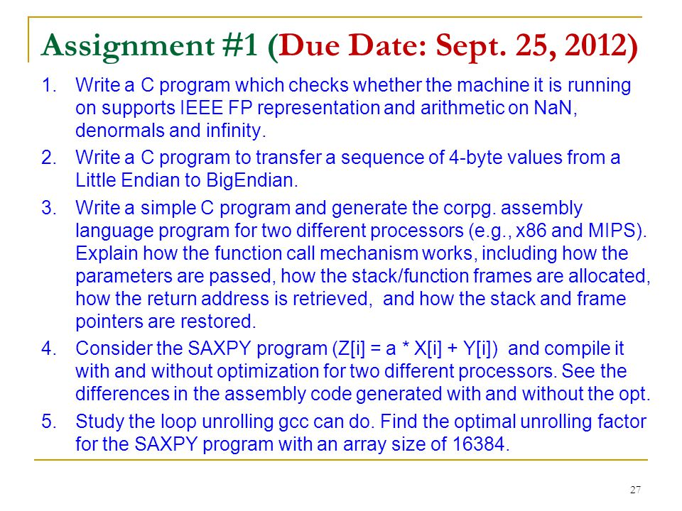 Assignment #1 (Due Date: Sept. 25, 2012)