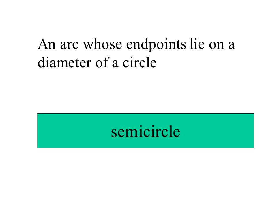 An arc whose endpoints lie on a diameter of a circle