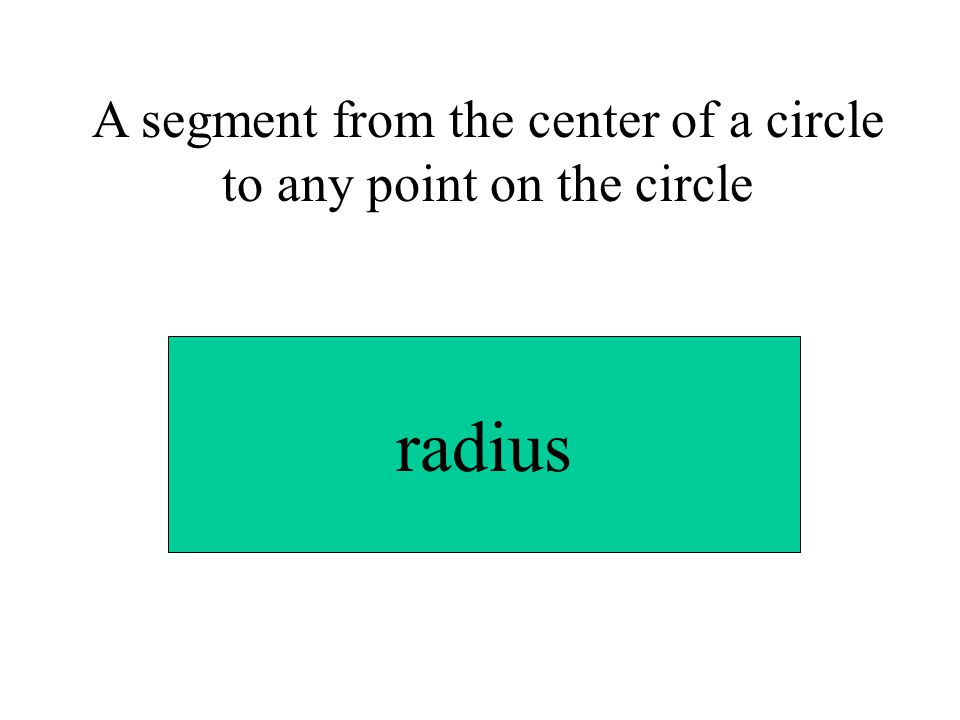 A segment from the center of a circle to any point on the circle