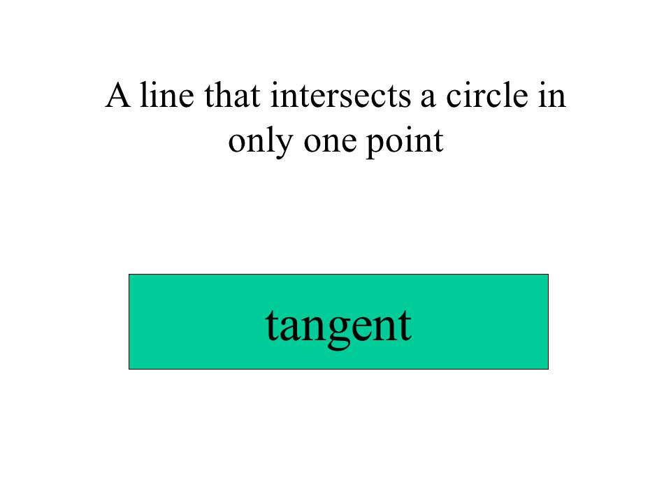 A line that intersects a circle in only one point