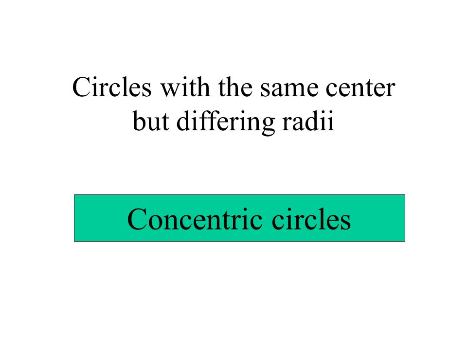 Circles with the same center but differing radii