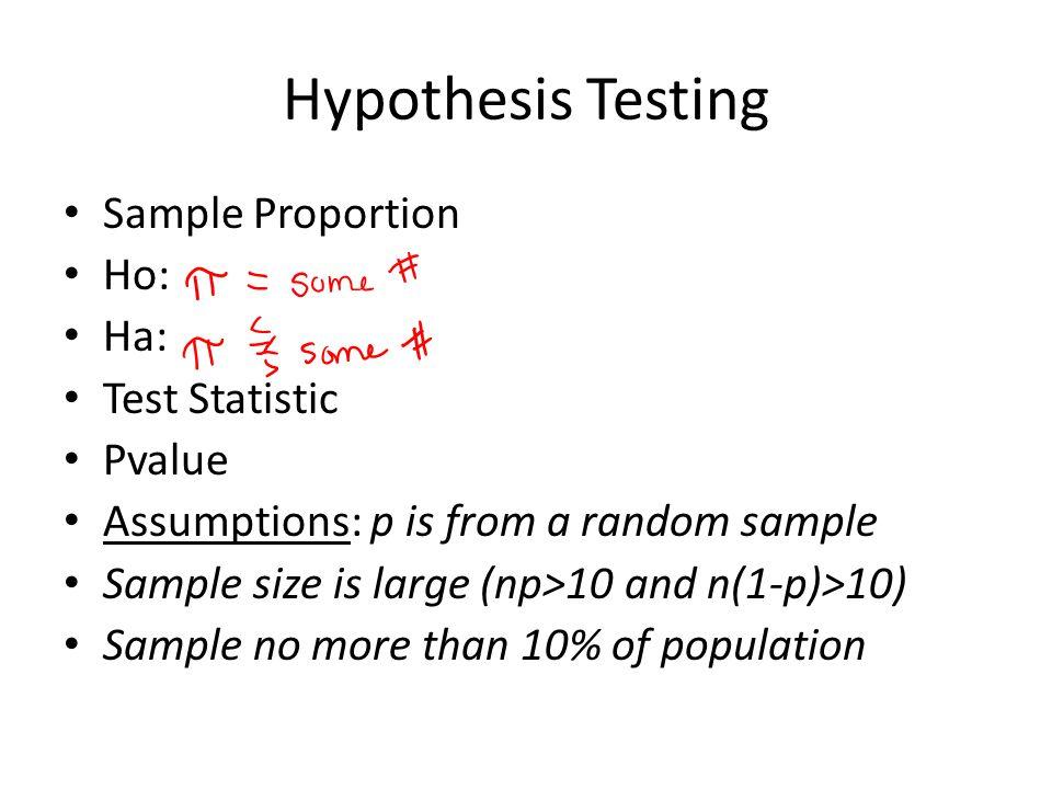 Hypothesis Testing Sample Proportion Ho: Ha: Test Statistic Pvalue