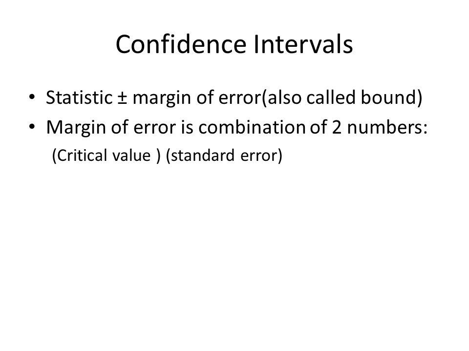 Confidence Intervals Statistic ± margin of error(also called bound)