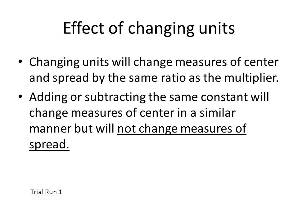 Effect of changing units