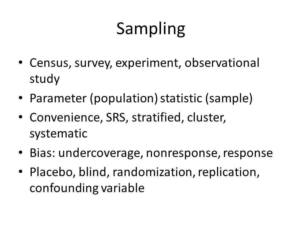 Sampling Census, survey, experiment, observational study