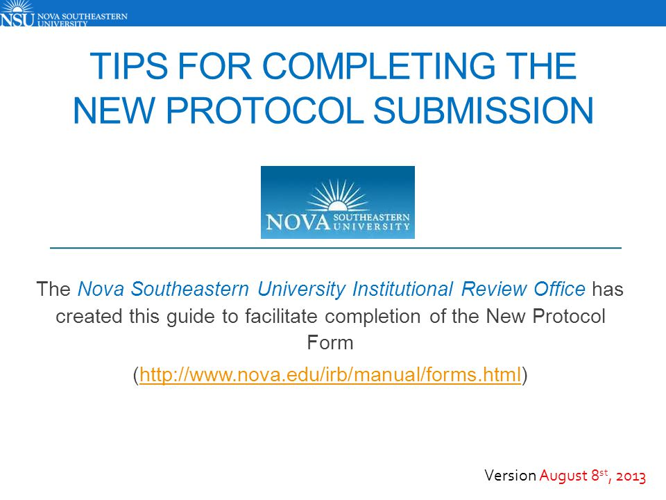 Tips for Completing the New Protocol Submission