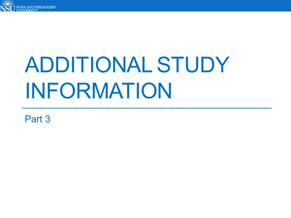 Additional Study Information