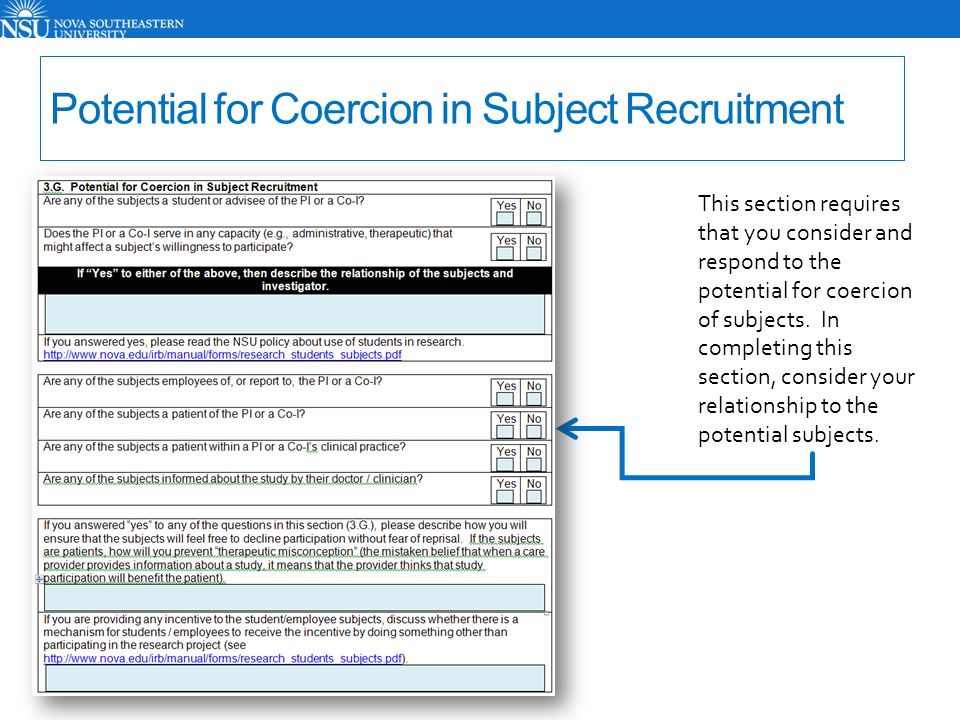 Potential for Coercion in Subject Recruitment