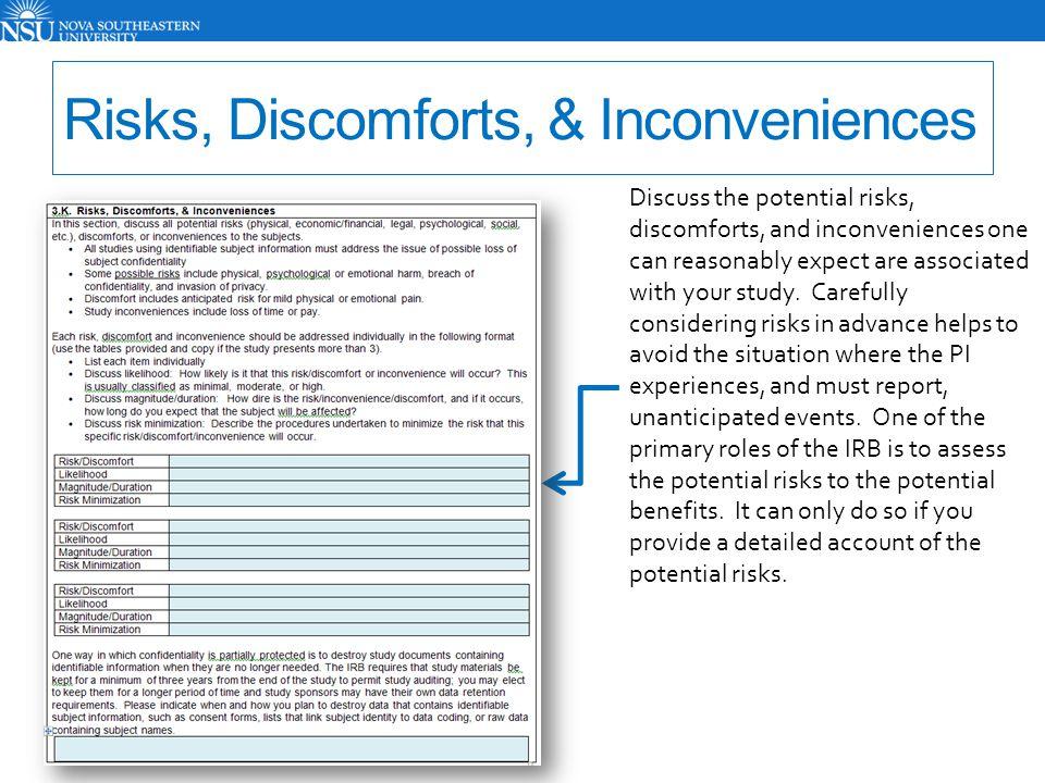 Risks, Discomforts, & Inconveniences