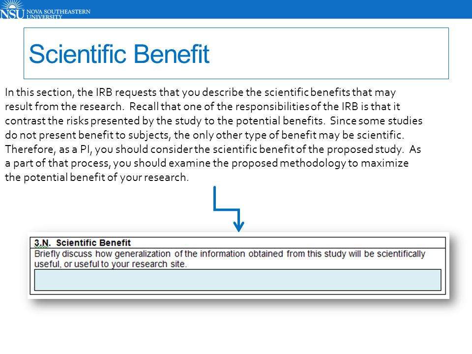 Scientific Benefit