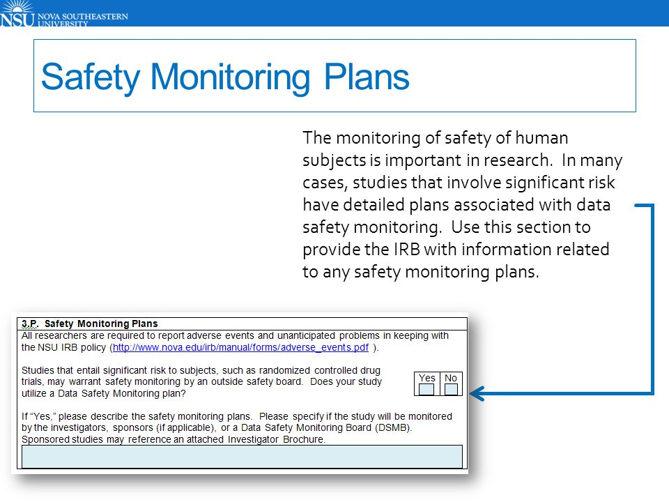 Safety Monitoring Plans