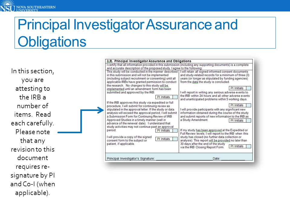 Principal Investigator Assurance and Obligations