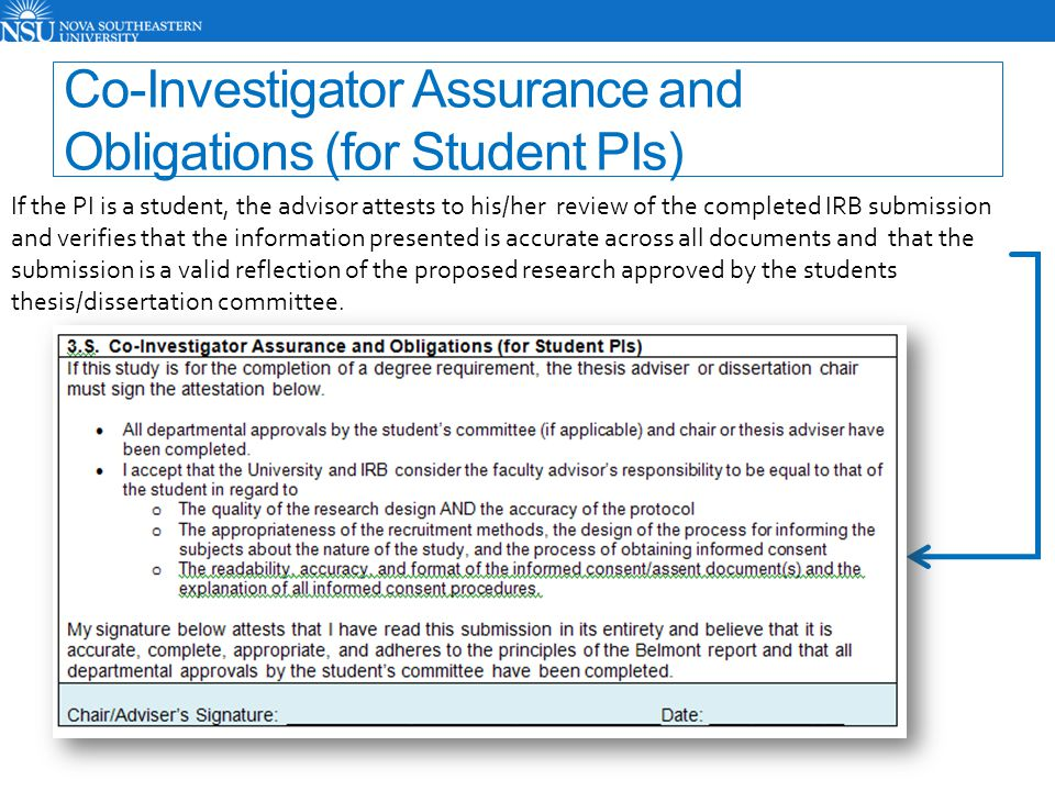 Co-Investigator Assurance and Obligations (for Student PIs)