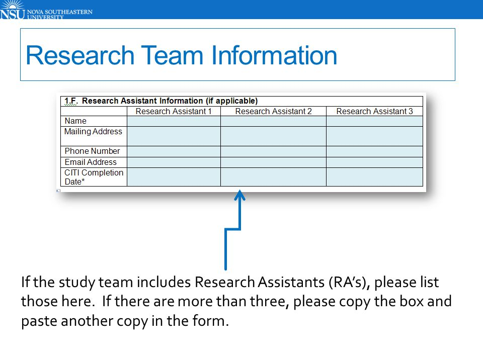 Research Team Information