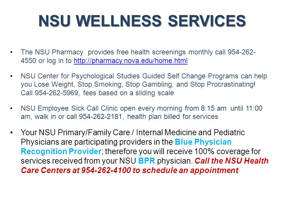 NSU WELLNESS SERVICES Samples of Services Provided Alcohol Awareness