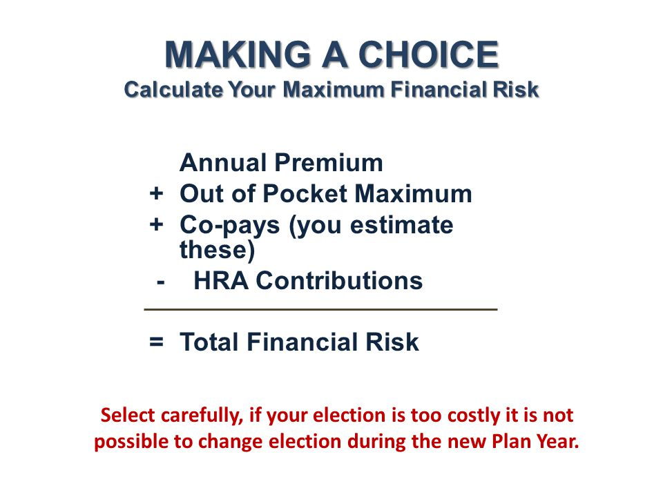 MAKING A CHOICE Calculate Your Maximum Financial Risk