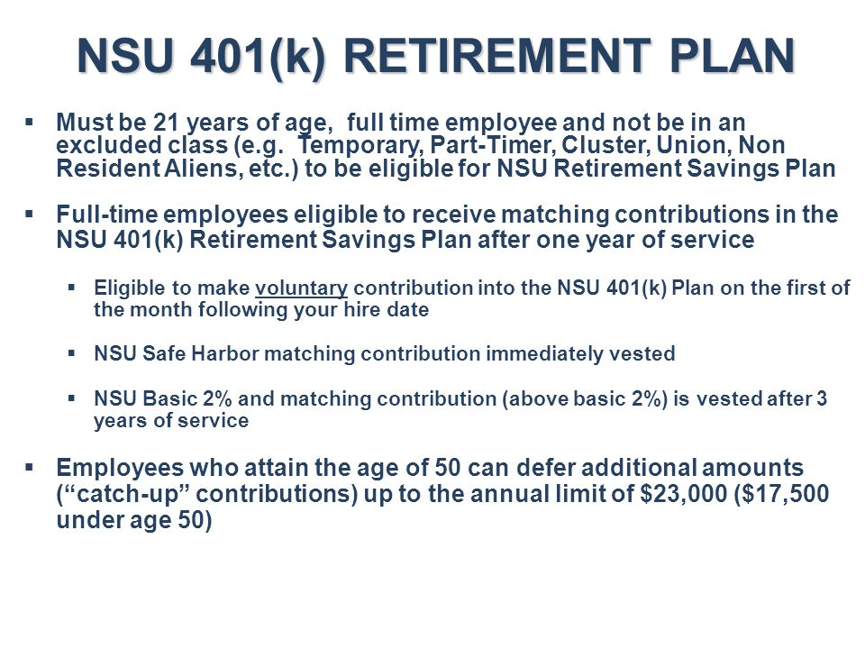 NSU 401(k) RETIREMENT PLAN