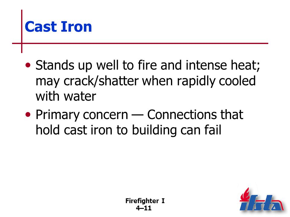 Steel Primary material used for structural support in large modern buildings. Structural members elongate when heated.