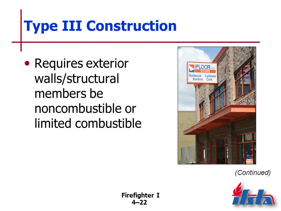 Type III Construction Interior structural members of wood in dimensions smaller than Type IV. Fire concerns.