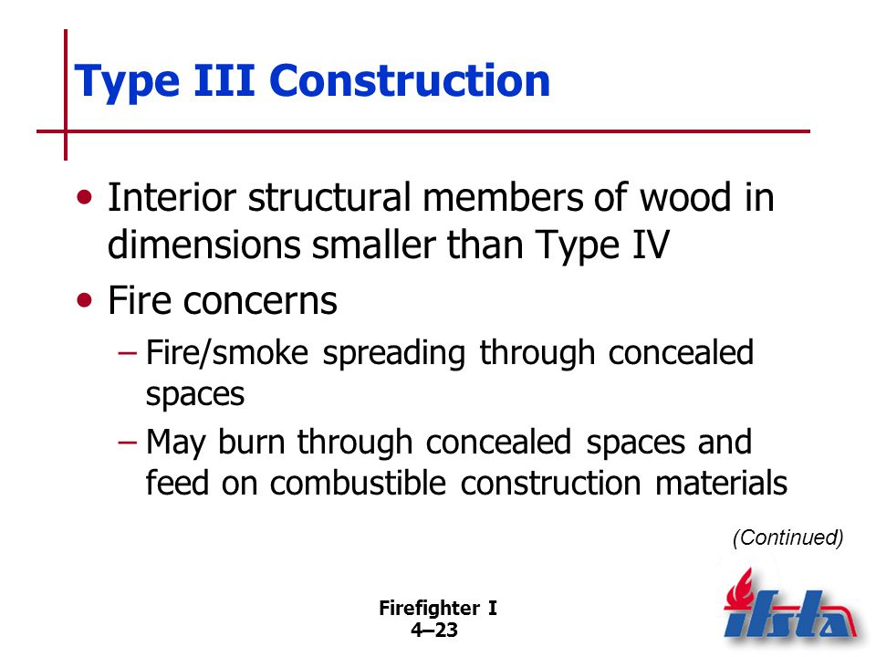 Type III Construction Hazards reduced considerably by placing fire-stops inside concealed spaces to limit spread of combustion by-products.