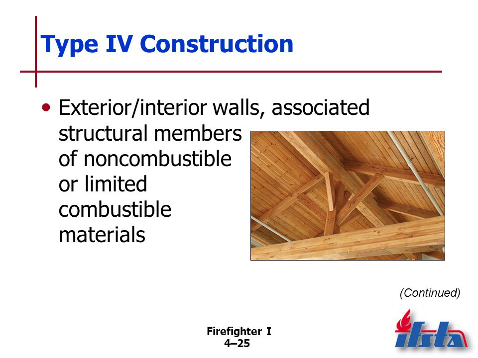 Type IV Construction Other interior members of solid or laminated wood; no concealed spaces.