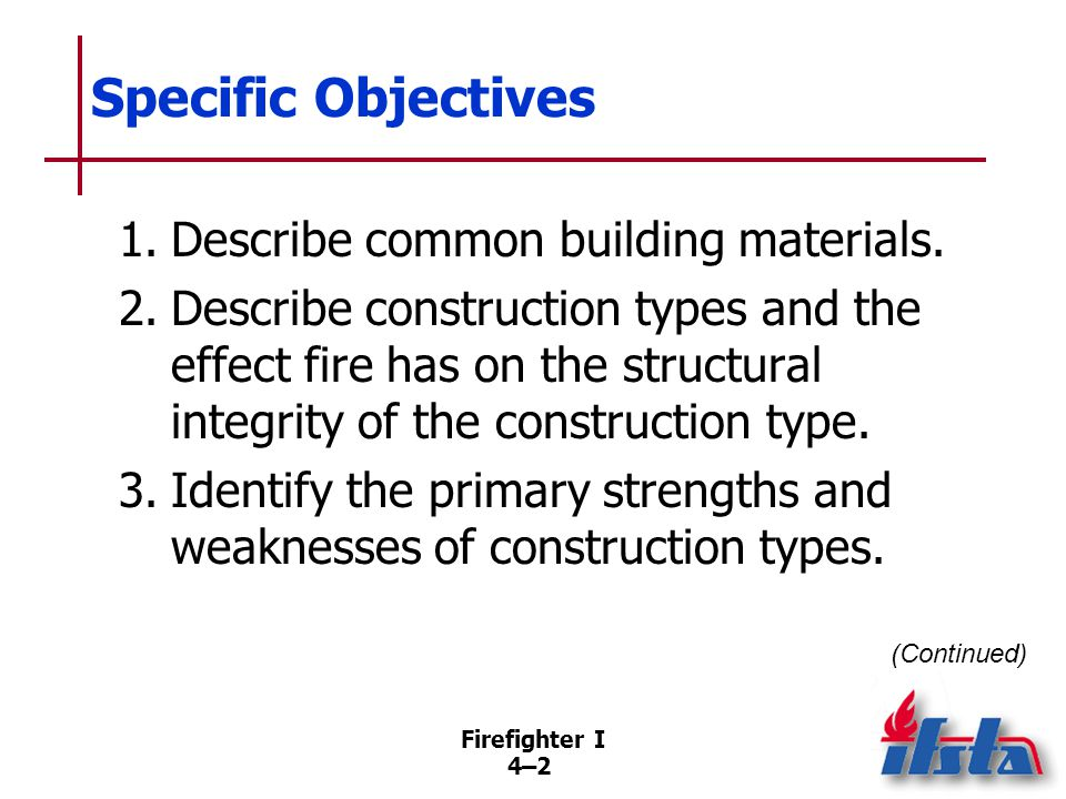 Specific Objectives 4. Describe dangerous building conditions created by a fire or by actions taken while trying to extinguish a fire.