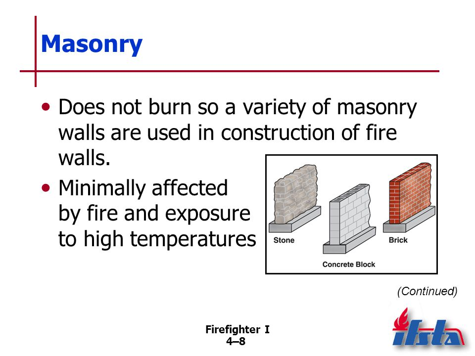 Masonry Components. Bricks. Stones. Concrete blocks. Mortar. Rapid cooling may cause cracking; should be inspected for damage signs.